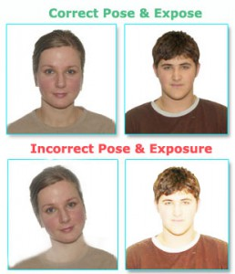 Correct and incorrect passport photos